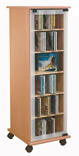 VCM 30023 CD DVD Regal Turm Tower Vitrine Schrank Möbel mit Rollen Drehbar Farbwahl 98 x 31 x 35 cm 'Valenza'
