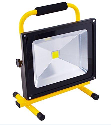 50W LED Fluter Arbeitsleuchte Mit Akku Kaltweiß Gelb Dünn Baustrahler Handlampen Flutlicht Tragbar Wiederaufladbare IP65 50W Kaltweiß