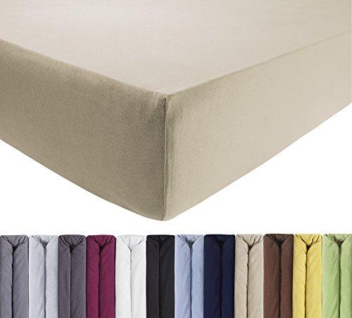 ENTSPANNO 2 x Jersey Spannbettlaken für Wasser- und Boxspringbett in Beige aus gekämmter Baumwolle. Spannbetttuch mit Einlaufschutz, 90 x 190   100 x 200-220 cm, bis 40 cm hohe Matratzen