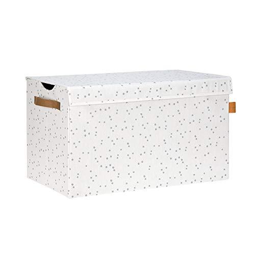 Lässig 1541003316 Toy Trunk Aufbewahrungskiste Allover Speckles, weiß