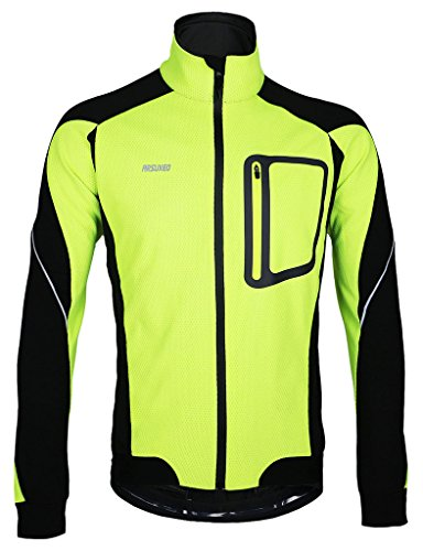 iCreat Herren Jacke Air Jacket Winddichte Wasserdichte Lauf- Fahrradjacke MTB Jacket Visible reflektierend, Fleece Warm Jacket für Herbst, Grün Gr.XL