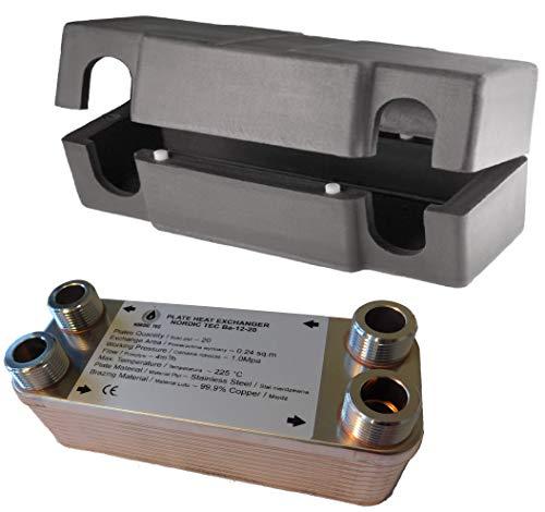 Edelstahl Wärmetauscher Plattenwärmetauscher NORDIC TEC Ba-12-20, 45kW, 20 platten, 3/4'