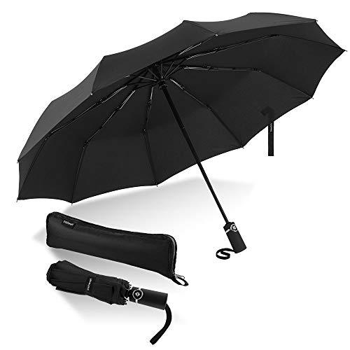 Newdora Windproof Reise Regenschirm Golf Regenschirm Auto Open Close, Leichte 10 Ribs Automatische Windproof Canopy Compact mit Licht Reflektierende mit Geschenktüte