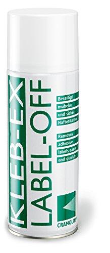 KLEB-EX 200ml Spraydose - Kleberlöser und Etikettenlöser - ITW Cramolin - 1341411 - Etikettenentferner und Kleberentferner, inkl. 1 St. orig. DEWEPRO SingleScrubs