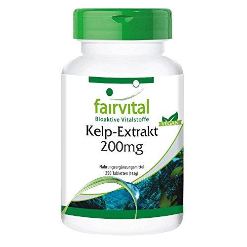 Kelp-Extrakt 200mg , natürliche Jod-Quelle mit 300mcg Jod/ 200% NRV, aus dem Nord-Atlantik, 250 vegane Tabletten, Großpackung