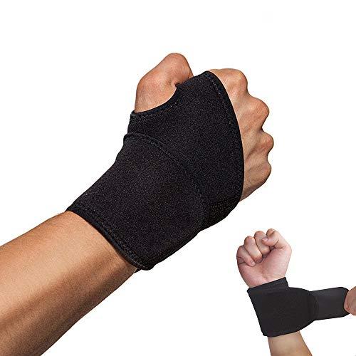 Hually Handgelenkbandage, (2er Set) Handgelenkstütze verstellbare,Sport Handgelenkschoner für Fitness, Krafttraining, Bodybuilding, auch bei Sehnenscheidenentzündung, für Damen und Herren, schwarz