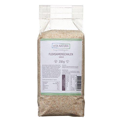 Vita Natura Flohsamenschalen indisch 250 g | Premium Qualität | Reich an Ballaststoffen | Indische Flohsamen