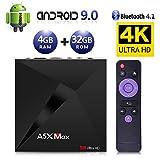 Android 9.0 TV Box, Android Box 4GB RAM 32GB ROM, ATETION MAX RK3328 Quad Core 64bit Smart TV Box, WiFi Dual 2.4G, BT 4.1, Box TV UHD 4K TV, USB 3.0