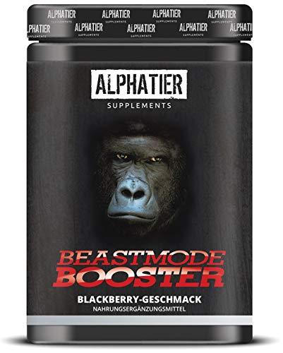 ALPHATIER BEASTMODE BOOSTER XXL - 500g - Pre-Workout Pump-Booster mit Koffein, Citrullin, L-Arginin, Creatin, ß-Alanin - Training & Fitness Shake hochdosiert - Berry Blast Geschmack