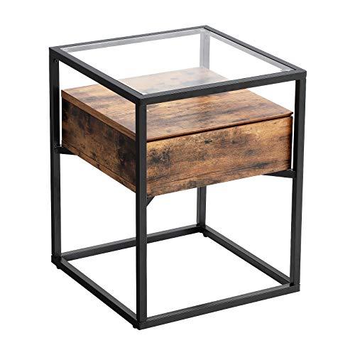 VASAGLE Beistelltisch im Industrie Design, Glastisch mit Schublade, Sofatisch Nachttisch, Lounge Foyer Vintage stabil, eckig LET04BX