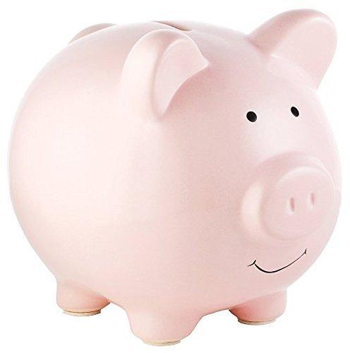 Sparschwein Rosa Schwein aus Keramik für Münzen und Scheine Normalgröße