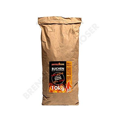 Holzkohle Buche für BBQ, Grillkohle groß, 10kg, Buchenholzkohle, Steakhouse Qualität, Premium Qualität, Körnung: 30-120mm, Weber Grill geeignet, 1x 10kg Sack, VERSANDKOSTENFREI