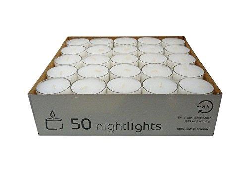 Wenzel-Kerzen 23-217-50-UK Nightlights in Kunststoffhülle bis zu 8 h Brenndauer, Pack a 50 Stück
