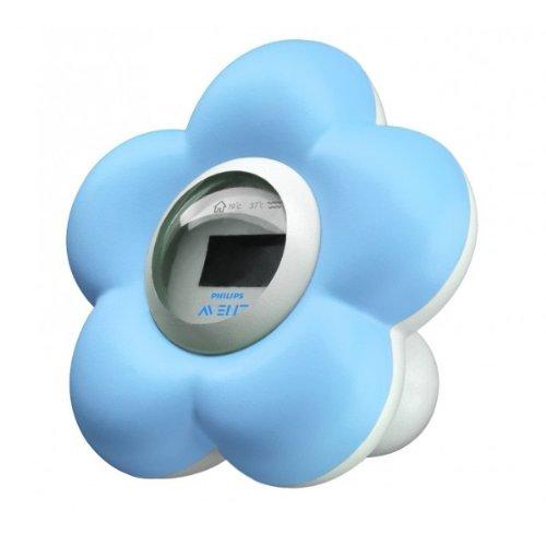 Philips Digitales Baby Badethermometer (Wasser- und Raumthermometer) SCH550/20, blau