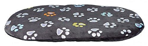 Hundekissen 95 x 60 cm über 10 cm dick Bunte Tapsen kuscheliges Hundekissen mit leicht glänzendem Plüschbezug Mit Reißverschluss Bezug waschbar 30°C ideal auch für Weidenkörbe oder Kunststoffkorb