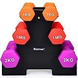 COSTWAY Kurzhantel Set, Hanteln mit Hantelständer, Fitness Hanteln Set, Gymnastikhanteln für Zuhause, Fitnessstudio, 1kg 1,5kg 2kg
