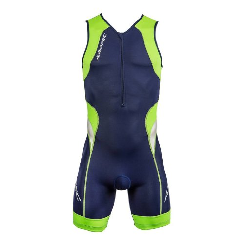 Aropec 106M Triathlon Einteiler Herren - Trisuit Men, Farbe:navy/grün;Größe:M