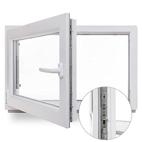 Kellerfenster - Kunststoff - Fenster - weiß - BxH: 100x50 cm - DIN links - Sicherheitsbeschlag - verschiedene Maße