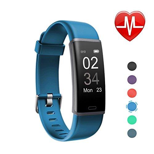 Letsfit Fitness Tracker mit Pulsmesser Fitnessarmband wasserdicht IP 67 Schrittzähler Uhr Pulsuhren Smart Armband Uhr Aktivitätstracker mit Schlaf Monitor, kompatibel mit für Android iOS Smartphone Blau