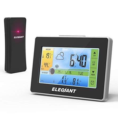 Wetterstation Funk mit Außensensor, ELEGIANT Funkwetterstation Digitaler Thermometer-Hygrometer für Innen Außen, Mondphasen, Wettervorhersage, Alarm/Snooze, 3 Außenkanäle, Farbdisplay, Touchscreen