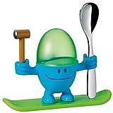 WMF McEgg Eierbecher, mit Löffel, Kunststoff, Cromargan Edelstahl poliert, spülmaschinengeeignet, H 11 cm, blau