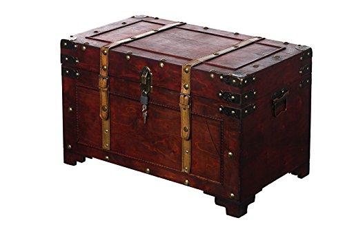 Sarah B Truhe AX4017 Abschließbar MIT Schloss Holztruhe, Schatzkiste,Kiste, Piratenkiste, Kleinmöbel,Holz