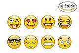Hannoversand 8 Emoji Kühlschrankmagnete im Set, STARKER Halt an Kühlschrank und Whiteboards, ø 40mm Kinder Magnete