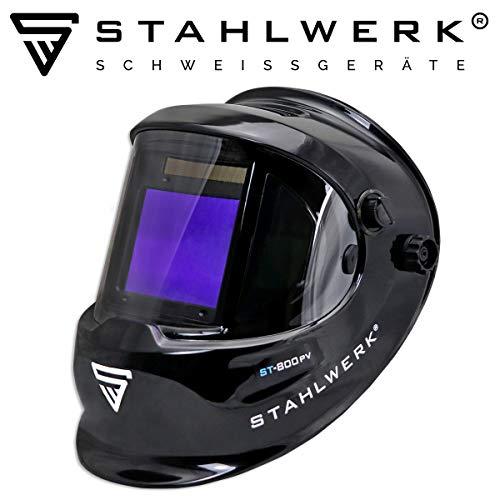 STAHLWERK ST-800PV Vollautomatik Schweißhelm, Optische Klasse: 1/1/1/1, großes Sichtfeld, inkl. 2 Ersatzscheiben, schwarz, 5 Jahre GARANTIE* auf FILTER