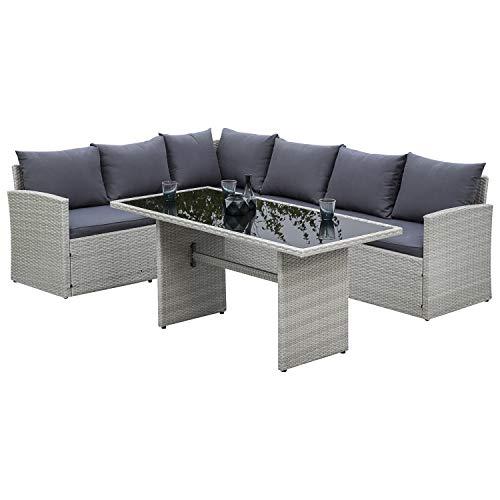 gartenmoebel-einkauf Dining Rattangarnitur Lanzarote, Stahl + Polyrattan grau, 227x241cm