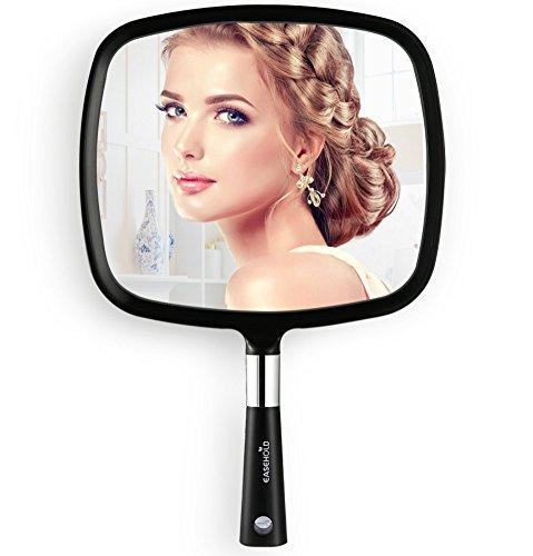 Easehold Großer Handspiegel für Frisiersalon, Wand-hängenden Spiegel, Beweglich Badspiegel und Wandspiegel (Schwarz)