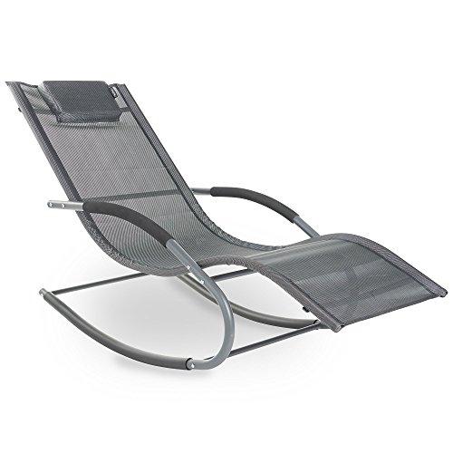 VonHaus Textoline Schaukel-Sonnenliege – Outdoor Relax-Stuhl für Garten, Patio, Terrasse