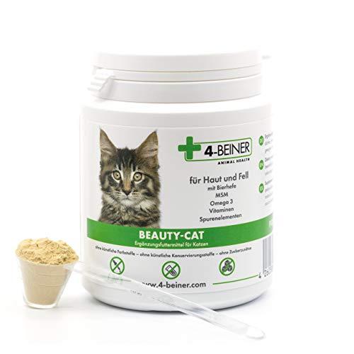 4-Beiner BEAUTY-CAT - glänzendes Fell, Vitamine für Katzen mit Bierhefe, MSM, Vitamin B Komplex, Vitamin C, Biotin, Omega 3, Mariendistel, Zink, Selen etc., 90 g Pulver für Katzen