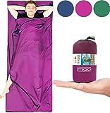 MIQIO 2in1 Hüttenschlafsack mit durchgängigem Reißverschluss (links oder rechts): Leichter Komfort Reiseschlafsack und XL Reisedecke in Einem - Sommer Schlafsack Innenschlafsack Inlett Inlay (Roseviolett - Zipper rechts)