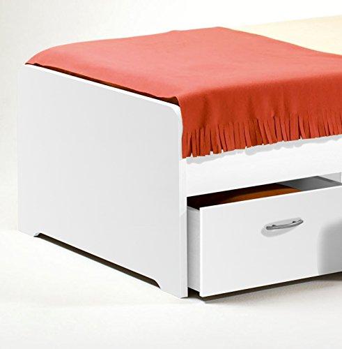 Stella Trading Boro Bett 90 x 200 cm Holz Weiß 204 x 95 x 66 cm