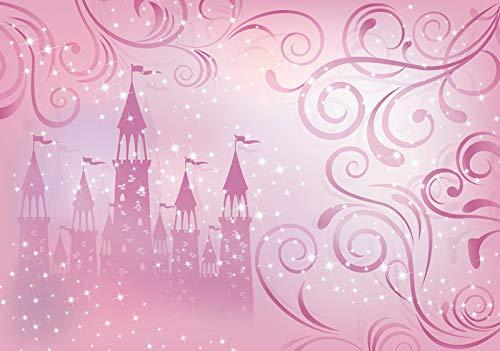 Forwall Fototapete Vlies Tapete Prinzessin Kinderzimmer - Mädchen Schloss Rose Moderne Wanddeko Wandtapete für Kinder 12547VEXXXL 416cm x 254cm