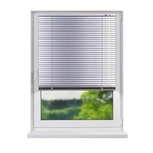 Fensterdecor Aluminium Jalousie, 110 x 240 cm (BxH), Silber, Jalousette, zum verschrauben und Bohren, einfache Montage, Tür und Fenster, Sicht- und Lichtschutz