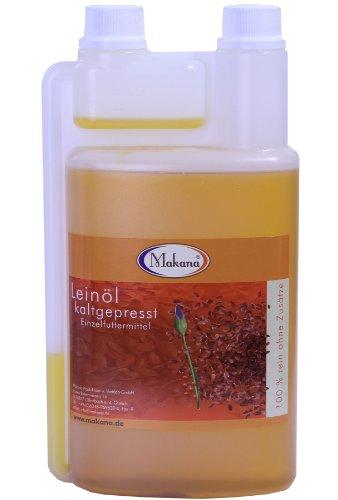 Makana Leinöl für Tiere, kaltgepresst, 100% rein, 1000 ml Dosierflasche (1 x 1 l)