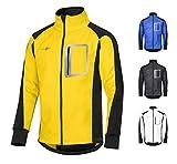CYCLEHERO Winddichte Fahrradjacke wasserdicht atmungsaktiv reflektierend Softshell Jacke Outdoorjacke (Gelb, L)