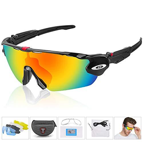 Alviller Fahrradbrille Polarisierte Sonnenbrille, UV400-Schutz Sportbrille für Herren und Damen, Radbrille mit 5 Wechselobjektiven und Etui für Radsports, Baseball, Laufen Sportsonnenbrille