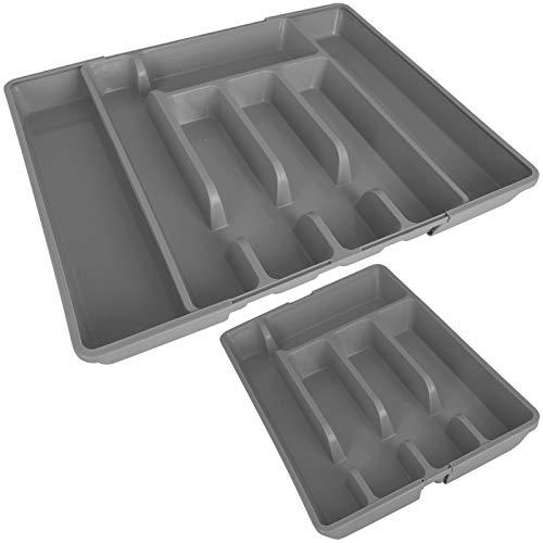 TW24 Alpina Besteckkasten ausziehbar mit Farbwahl 27-44cm für Schubladen Besteckfach Kunststoff Besteckeinsatz Schubladeneinsatz (Grau)