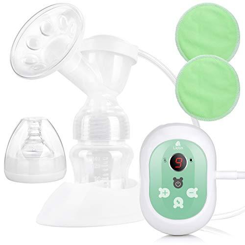 Lictin Elektrische Milchpumpe Wiederaufladbare Brustpumpe Einzel Muttermilch Abpumpen mit Massagemodi LED Anzeige BPA frei und ungiftig mit 2 Stilleinlagen