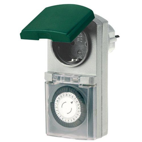 REV OUTDOOR ZEITSCHALTUHR Tempo   mechanische Tageszeit-Schaltuhr   für den Außenbereich IP 44   mit Kinderschutz   Farbe: grau-grün