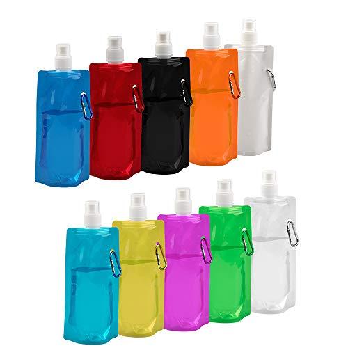 Vegena 10 Stücke 480ml Faltbare Wasserflasche Wiederverwendbare Trinkwasserflasche Falten Wasser Tasche für Outdoor-Sportarten Reiten Wandern, 10 Farben