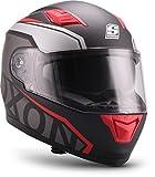 """SOXON ST-1000 Race """"Red"""" · Integral-Helm · Full-Face Motorrad-Helm Roller-Helm Scooter-Helm · ECE Sonnenvisier Schnellverschluss Tasche L (59-60cm)"""