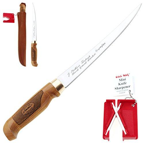 MARTTIINI Classic Superflex Filetier-Messer 30,6cm + LANSKY Crock Stick Messer-Schärfer / Filleting Knife & Sharpener Combo, extrem scharf & flexibel, für Fisch & Fleisch