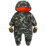 Baby Winter Overall Mit Kapuze Jungen Schneeanzüge mit Handschuhen und Füßlinge Warm Kleidungsset 9-12 Monate