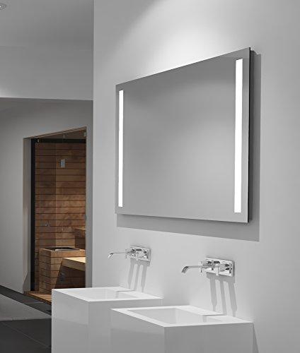 LED-Spiegel Talos Light– Warmweiß beleuchteter Spiegel für das Badezimmer - 100x 70 cm großer Wandspiegel – Glas-Beleuchtung für angenehmes Licht im Bad – Modernes Design und hochwertige Beschichtung