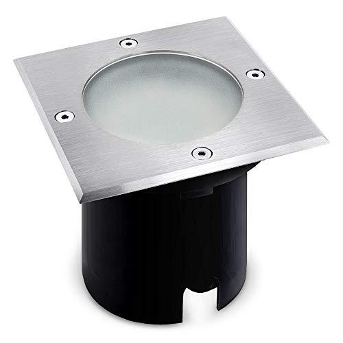 MADON Bodeneinbaustrahler Aussen LED eckig IP65 - Bodenstrahler befahrbar & trittfest mit LED GU10 Leuchtmittel 3,5W warmweiß