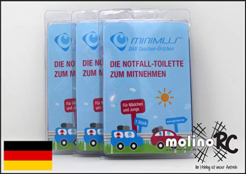 molinoRC 3X Notfall-Toilette | Wegwerf-Toilette | Urinal | Reisetoilette | Reisetoilette Notfall-WC | Kinder Buben Mädchen Erwachsene |  |  |  |  |