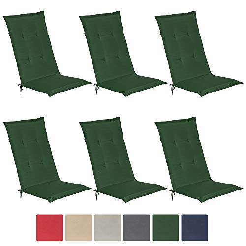 Beautissu 6er Set Loft HL Hochlehner Auflagen Set dunkelgrün 120x50 cm Sitzkissen Gartenstuhlauflage Schaumkern-Füllung mit Oeko-Tex - UV Lichtecht